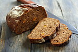Rye bread with dried apricots and nuts.
