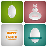 Happy Easter decoration card made from white paper