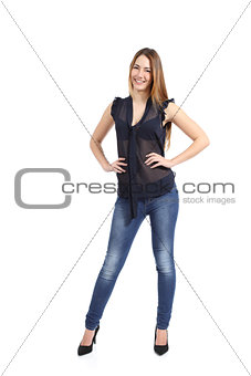 Full body portrait of a casual  happy woman model standing