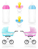 set icons perambulator bottle pacifier pink and blue vector illu