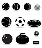 set icons sport balls black silhouette vector illustration