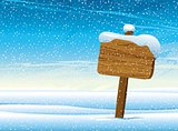 Wooden pointer and snow.