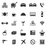 Hotel icons on white background