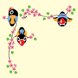 cartoon birds in spring
