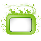 Spring vector banner with  green grass and duck .
