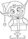 Christmas Elf Holding A Present Coloring Page