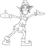 Christmas Elf Spreading Arms And Smiling Coloring Page