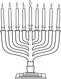 Hanukkah Lamp Hanukkiah Coloring Page