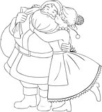 Mrs Claus Kisses Santa On Cheek And Hugs Coloring Page