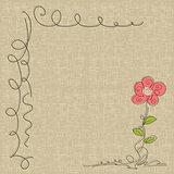 doodle flower on seamless linen texture