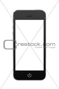 Black modern mobile smart phone with blank screen