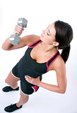 Brunette and Barbell America Stock Photo