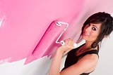 Woman House Wife Painting the Walls America Stock Photo
