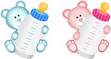 Lovely Baby Teddy Bear with Baby Bottle