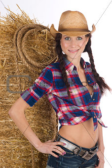 Country Girl Standing Barn Scene Haybale Pigtails