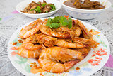 Cooked Whole Prawns with Garlic Sauce Closeup
