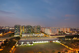 Singapore Housing Estate by MRT Train Station