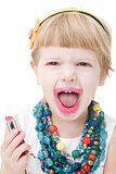 little girl applying lipstick