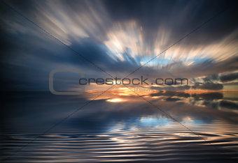Beautiful sunset long exposure image over ocean