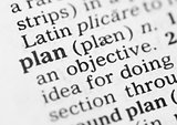 Macro image of dictionary definition of plan