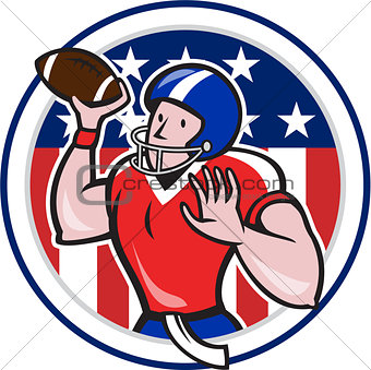 Football Quarterback Throwing Circle Cartoon