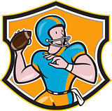 American Football Quarterback Throw Shield Cartoon