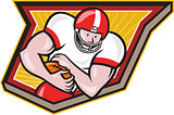 American Football Running Back Run Shield Cartoon