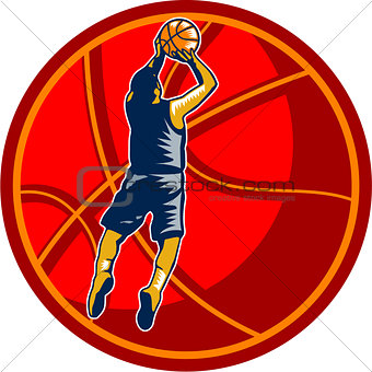 Basketball Player Jump Shot Ball Woodcut retro