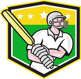 Cricket Player Batsman Batting Shield Star