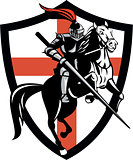 English Knight Riding Horse England Flag Retro