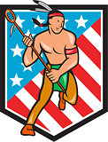 Native American Lacrosse Player Stars Stripes Shield