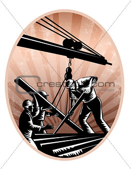 Construction Workers Woodcut Retro