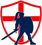 English Knight Silhouette England Flag Retro