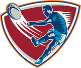 Rugby Player Kicking Ball Shield Woodcut