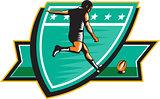 Rugby Player Kicking Ball Shield Retro