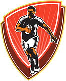 Rugby Player Running Ball Front Woodcut