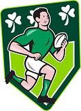 Irish Rugby Player Running Ball Shield Cartoon