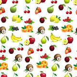 Seamless pattern  of different fruits with leaves and flowers
