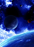 Beautiful space scene with planets