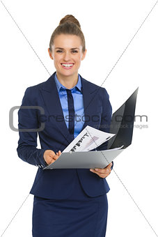 Portrait of business woman with documents
