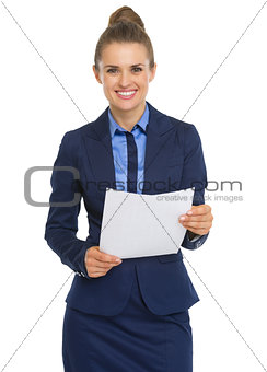 Smiling business woman with document