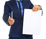 Closeup on business woman giving document and pen