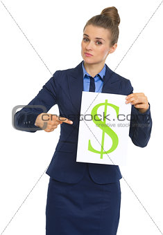 Business woman pointing on paper sheet with dollar sign