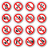 Set Prohibited symbols Office black signs on paper stickers
