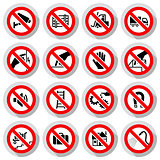 Set icons Prohibited symbols Industrial hazard signs on paper stickers
