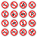 Prohibited symbols set Shop signs on paper sticker