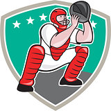 Baseball Catcher Catching Shield Cartoon