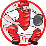 Baseball Catcher Catching Cartoon