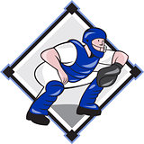 Baseball Catcher Catching Side Diamond Cartoon