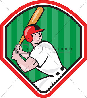 American Baseball Player Bat Diamond Cartoon